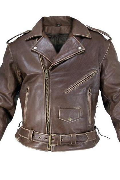Customized Handmade Brown Color Bikers Brando Leather Jacket For Men Adjustable Belted Waist, Multi Pockets, Lapel Collar With Fastening Stud And Shoulder Epaulets Made To Order