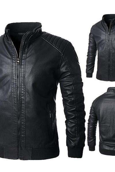 Customized Handmade Black Color Bikers Fashion Slim Leather Jacket For Men Rib Cuffs And Waist, Zippered Pockets And Padding Design Shoulders Made To Order