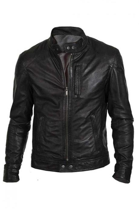 Customized Handmade Black Color Bikers Fashion Leather Jacket For Men Button Cuffs And Ban Collar, Zippered Closure And Hand Pockets Made To Order