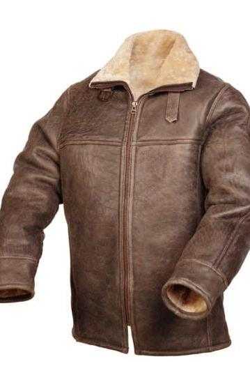 Customized Handmade Brown Color Slim Fur Leather Jacket For Men Made To Order