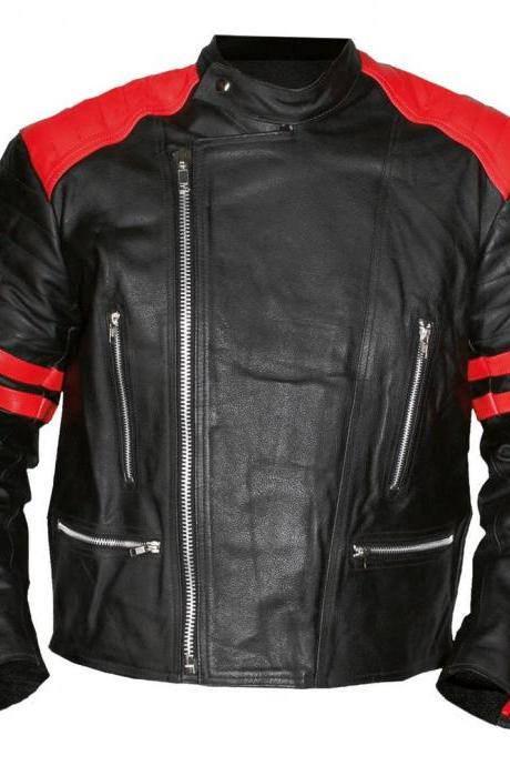 Customized Handmade Black Color Bikers Brando Fashion Leather Jacket Red Strips On Sleeves And Shoulders, Zippered Pockets And Cuffs Made To Order
