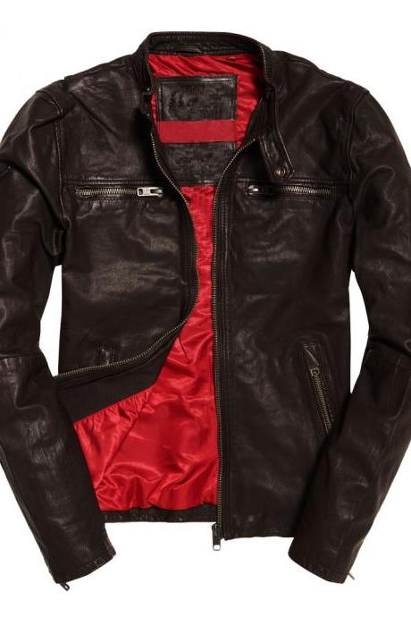 Customized Handmade Chocolate Brown Color Bikers Fashion Leather Jacket Zippered Pockets And Zippered Cuffs, Front Zippered Closure Made To Order