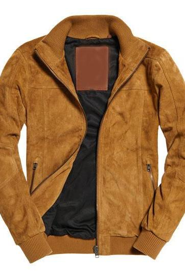 Customized Handmade Tan Color Bikers Stylish Suede Leather Jacket Rib Style Collar, Waist And Cuffs, Zippered Hand Pockets Made To Order