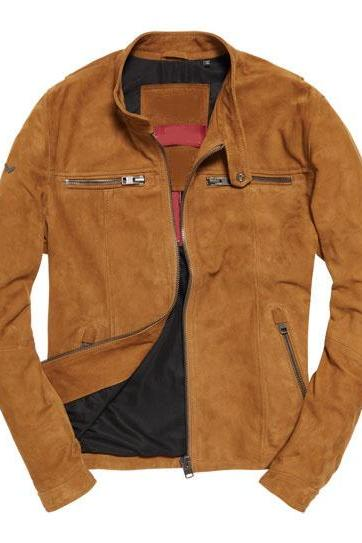Customized Handmade Tan Color Bikers Fashion Suede Leather Jacket Snap Button Cuffs And Collar Made To Order