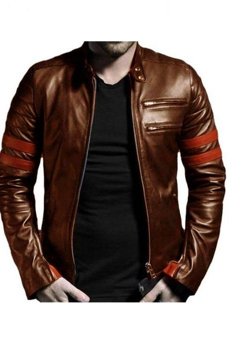 Customized Handmade Brown Color Bikers Fashion Slim Leather Jacket Red Strips Sleeves Made To Order