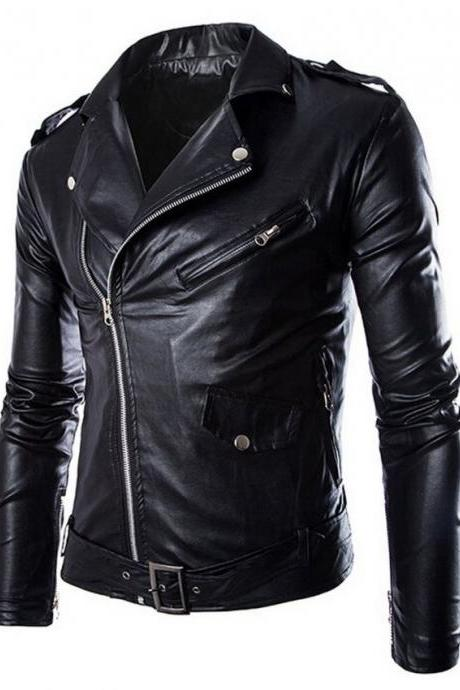 Customized Handmade Black Color Bikers Brando Leather Jacket Lapel Collar With Fastening Stud, Shoulder Epaluet And Multi Pockets Made To Order