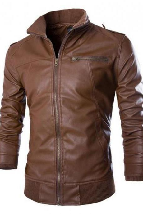 Customized Handmade Brown Color Bikers Slim Stylish Leather Jacket For Men Rib Waist And Cuffs With Snap Button Closure Made To Order