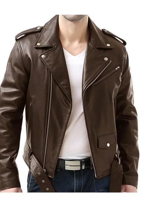 Customized Handmade Brown Color Bikers Brando Leather Jacket For Men Belted Waist, Multi Pockets, Lapel Collar With Fastening Stud, Shoulder Epaulets Made To Order