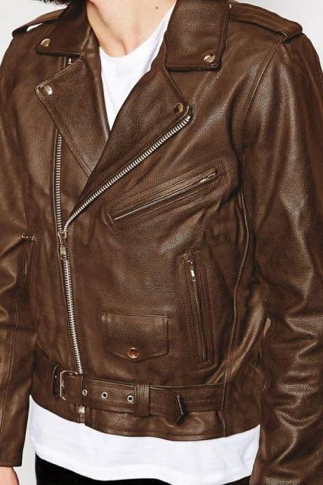 Customized Handmade Brown Color Bikers Brando Leather Jacket For Men Waist With Stylish Adjustable Belt, Lapel Collar With Fastening Stud, Shoulder Epaulets Made To Order
