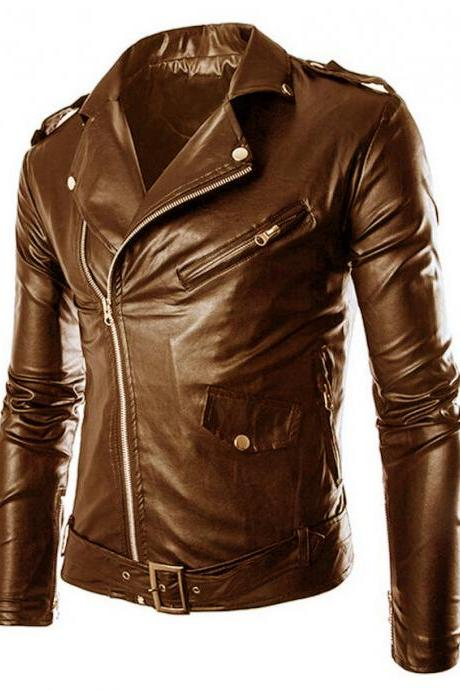 Customized Handmade Brown Color Bikers Brando Leather Jacket For Men Adjustable Belted Waist, Lapel Collar With Fastening Stud, Shoulder Epaulets Made To Order