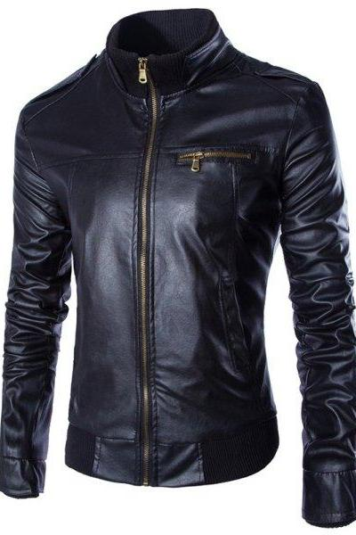 Customized Handmade Navy Blue Color Bikers Slim Bomber Men's Leather Jacket Made To Order