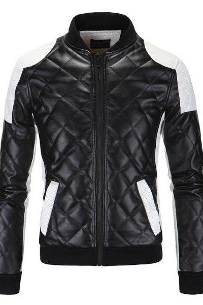 Customized Handmade Black Color Bikers Quilted Fashion Leather Jacket For Men With White Color Perforated Shoulders And Hand Pockets, Rib Waist, Cuffs And Collar Made To Order