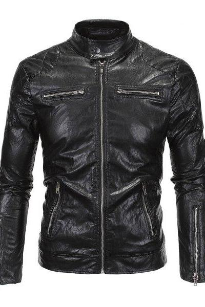 Customized Handmade Black Color Bikers Fashion Leather Jacket For Men Quilted Shoulders, Button Closure Tab Collar, Zippered Pockets And Cuffs Made To Order
