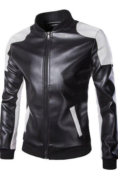 Customized Handmade Black Color Bikers Bomber Leather Jacket For Men White Perforated Shoulders And Strips On Sleeves, Rib Waist, Cuffs And Close Collar Made To Order