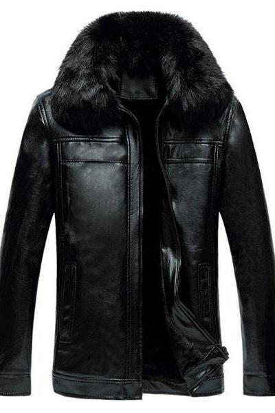 Customized Handmade Black Color Fur Leather Jacket For Men Hand Pockets, Button Cuffs And Seam Worked, Shearling Wide Collar Made To Order