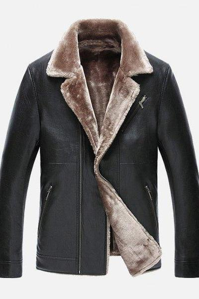 Customized Handmade Black Color Bikers Fur Leather Jacket For Men Lapel Style Collar, Zippered Pockets And Button Cuffs Made To Order