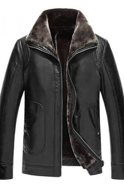 Customized Handmade Black Color Fur Leather Jacket For Men Wide Collar, Seam Worked On Shoulders, Button Cuffs, Zippered Closure, Hand Pockets Made To Order