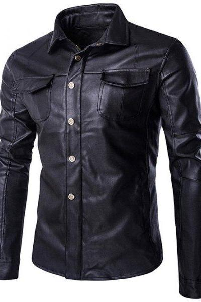 Customized Handmade Black Color Bikers Bomber Pure Leather Jacket For Men Front Silver Button Up Closure, Chest Flap Pockets And Open Hand Pockets, Snap Button Cuffs, Shirt Style Collar Made To Order