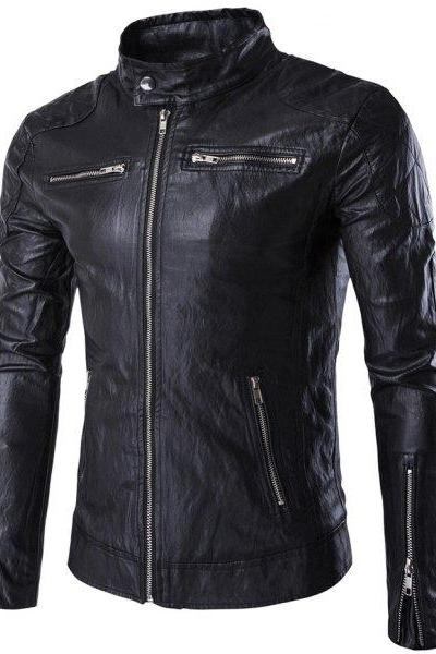 Customized Handmade Black Color Bikers Bomber Leather Jacket For Men Zippered Pockets & Zippered Cuffs, Snap Button Collar And Quilted Shoulders Made To Order