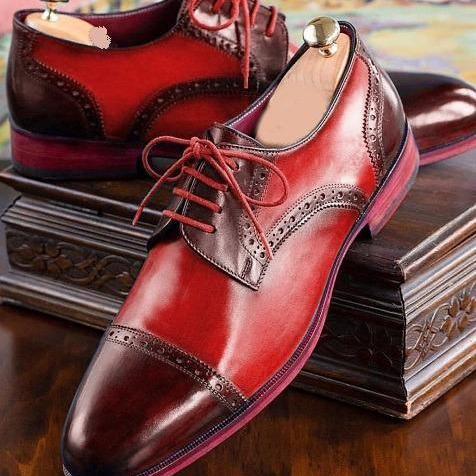 Handmade Men Two Tone Maroon Red Derby Rounded Cap Toe Real Leather Laceup Shoes