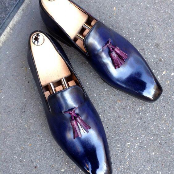 Handmade Men's Shiny Blue Genuine Leather Loafer Slip On Burgundy Tassels Shoes