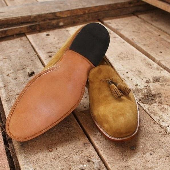 Handmade Men's Tan Tassel Loafer Slip Ons Suede Leather Derby Rounded Toe Shoes