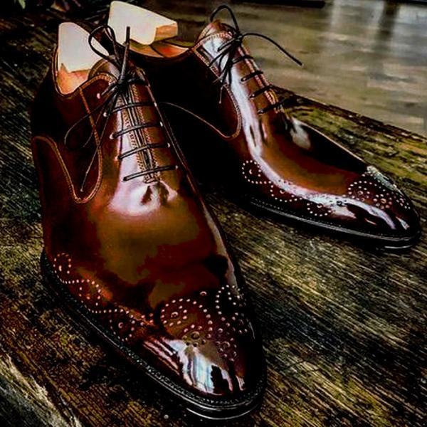 Luxury BALMORAL Brown Patina Brogue Toe Precise LEATHER Formal Business Shoes For Men