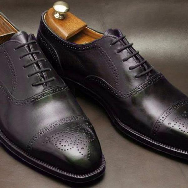 Latest BALMORAL Style Lace Up Fastening Dark Brown Genuine LEATHER Men Dress Shoes