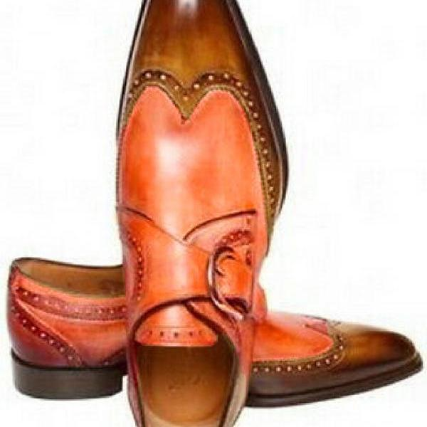 Made To Order Dual Orange Brown Single Monk Strap Premium LEATHER Wedding Shoes