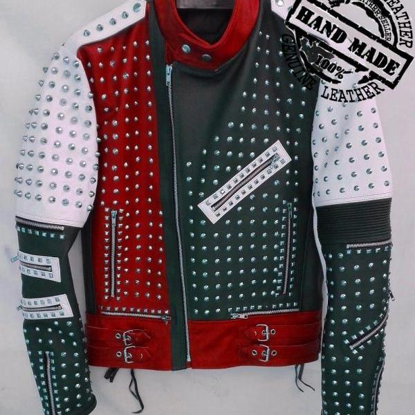 Premium Fashion Leather Jacket Silver Studded Men Real Soft Biker Style Jacket