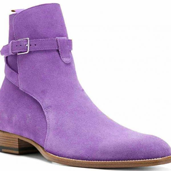 Soft Suede LEATHER Wisteria Violet Round Strap Original LEATHER JODHPUR Boots