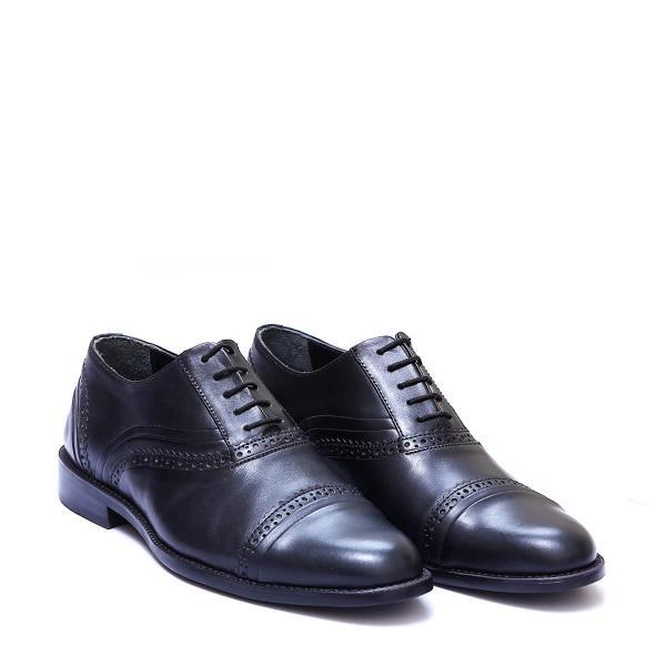 Luxury Black Color Cap Toe Lace Up Fastening Pure Leather Men Oxford Dress Shoes