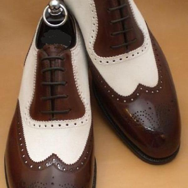 Handmade Two Tone White Brown Full Brogue Wingtip Real Leather Men Oxford Lace Up Party Shoes