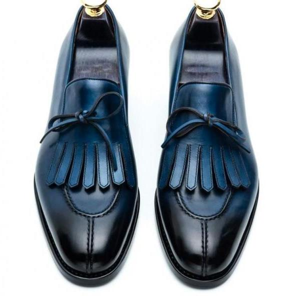 Men Handmade Royal Blue Patina Split Toe Real Leather Kiltie Fringes Loafer Slip On Formal Shoes