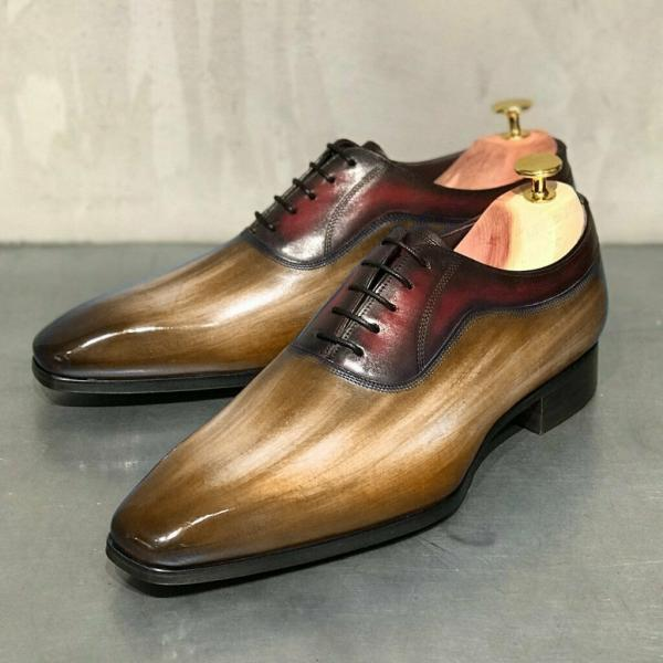Men Handmade Pairs Two Tone Original Leather Balmoral Formal Wedding Shoes