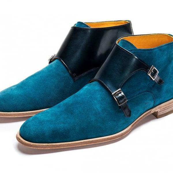 Customize Royal Blue Dual Monk Strap Real Suede Leather Handmade Contrast Sole Men Formal Ankle Boots