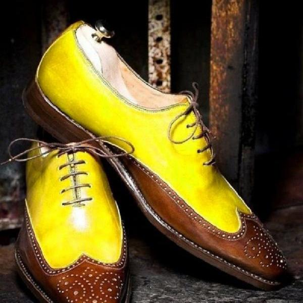 Two Tone Yellow Brown Medallion Wingtip Premium Leather Men Balmoral Lace Up Formal Shoes