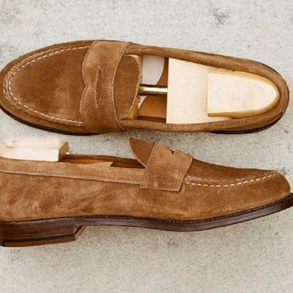 Made To Order Suede Leather Penny Loafer Brown Slip On Men Customize Formal Apron Toe Shoes