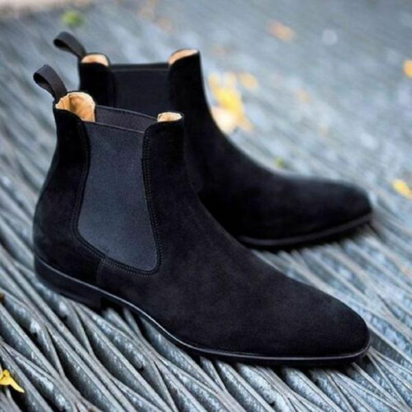 Customize Chelsea Back Pull Suede Leather Handmade Elasticated Panel Ankle Boots Size US 7-16