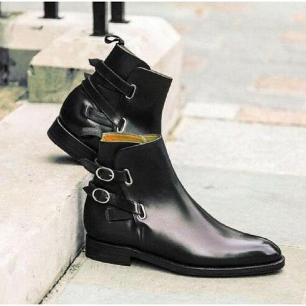 Chelsea Dual Buckle Patent Leather Back Pull Handmade Formal Ankle Strap Boots US 7-16