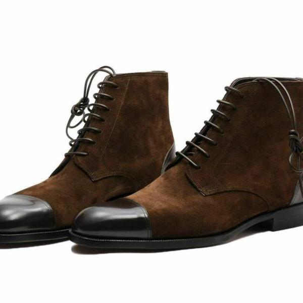 Men Derby Brown Cap Toe Patina Genuine Suede Leather Handmade Lace Up Formal Ankle Dress Boots Sizes US 7-16