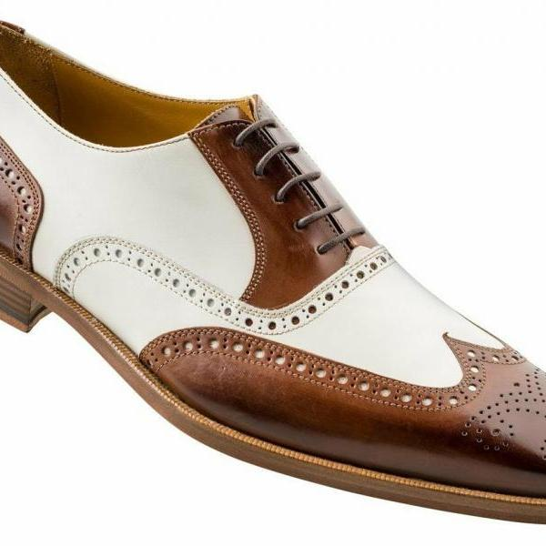 Spectator Two Tone White Brown Brogue Wingtip Genuine Leather Men Handmade Lace Up Formal Dress Shoes Sizes US 7-16