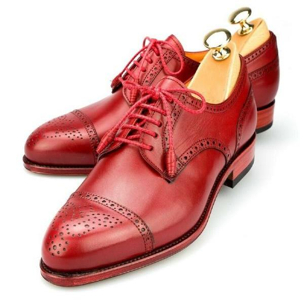 Men Derby Red Patent Lace Up Real Cow Hide Leather Handmade Brogue Cap Toe Patina Formal Dress Shoes US 7-16
