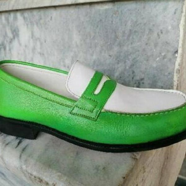 Customize Moccasin Two Tone Apron Toe Handmade Genuine Cow Hide Leather Men Penny Loafer Slip On Formal Shoes US 7-16