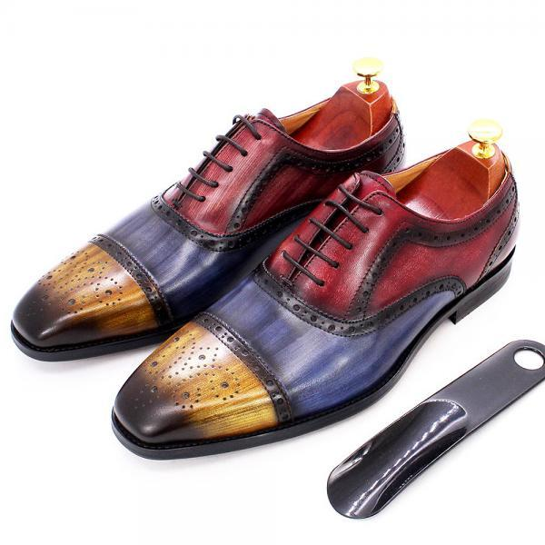 Oxford Brogue Cap Toe Multicolor Handmade Genuine Cowhide Leather Men Lace Up Formal Dress Shoes