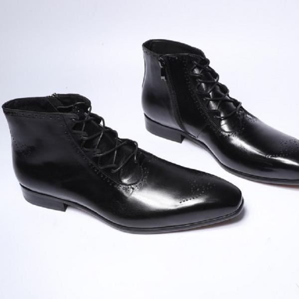 Oxford Handmade Patent Brogue Toe Black Patina Real Cowhide Leather Men Zippered Formal Dress Ankle Boots