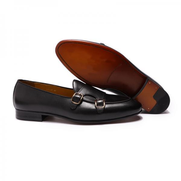 Stylish Black Color Dual Monk Strap Men Handmade Cow Skin Leather Buckle Apron Toe Formal Shoes