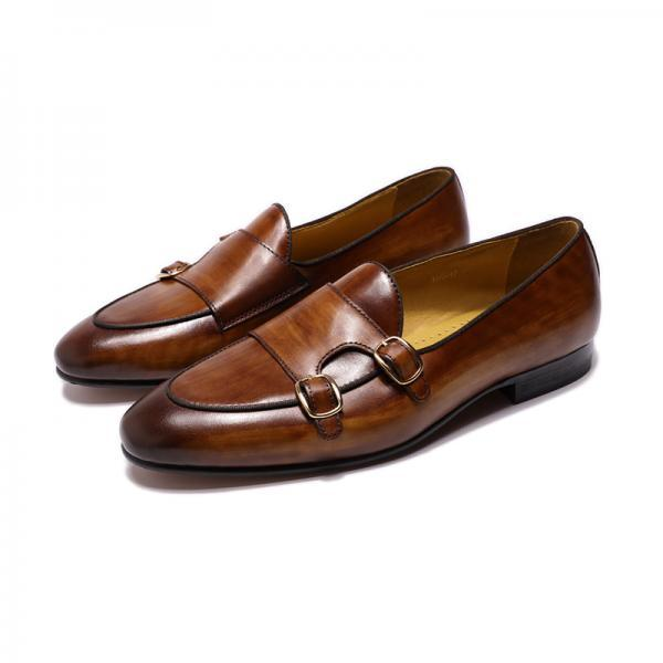 Wedding Wears Brown Color Dual Monk Strap Men Handmade Cowhide Leather Buckle Moc Toe Formal Shoes