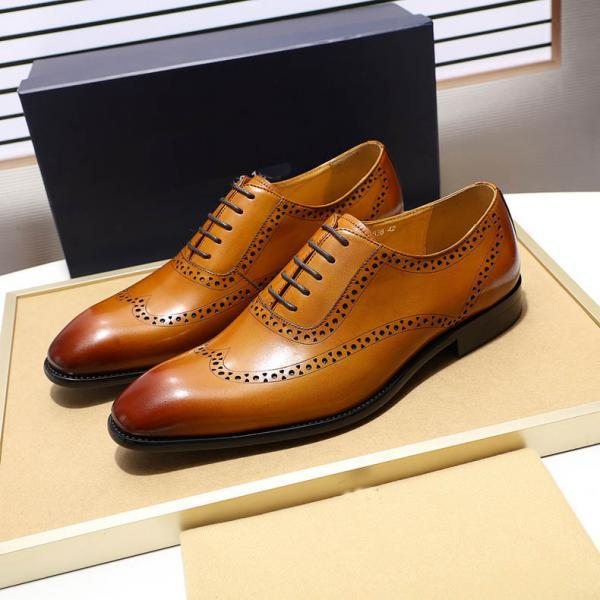 Customize Oxford Tan Patina Real Cowhide Leather Men Handmade Wingtip Formal Lace Up Dress Shoes
