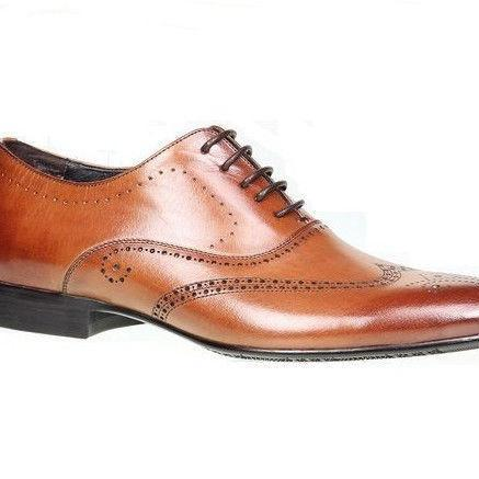 Handmade Mens Brown Color Oxford Dress Shoes With Laces Handmade Leather Sole